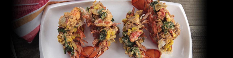 Baked PEI Lobster with Bacon & Corn/Homard de l'Î.-P.-É. au four avec bacon et maïs